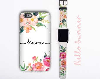 Watercolor Flowers iPhone 13 case & Apple Watch Band personalized iPhone cover apple watch strap set floral design, faux leather, 38 / 42 mm