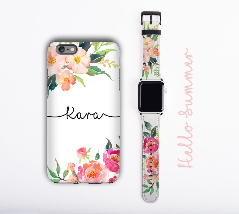 Watercolor Flowers iPhone 12 case & Apple Watch Band image 0