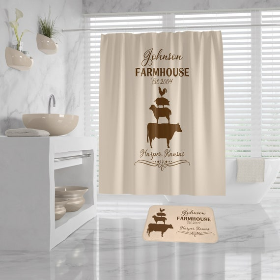 Farmhouse Custom Shower Curtain and Bath Mat, farm animals, personalized farmhouse decor, country guest bathroom decor personalized bath mat