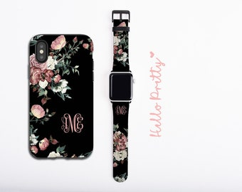 Vintage shabby chic roses iPhone case & Apple Watch Band, personalized phone case and watch band set, monogram set, faux leather, 38 / 42 mm