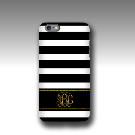iPhone 11 Pro max case Black white stripes golden glitter monogram iPhone 6s case personalized Galaxy Note 9 case iPhone 6 plus iPhone 8