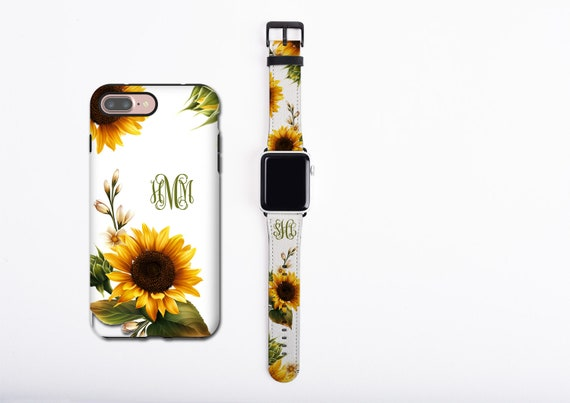 Sunflower Apple Watch Band & iPhone 11 case set, floral phone case and watch band set, custom monogram iPhone case, faux leather, 38 / 42 mm