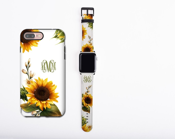 Sunflower Apple Watch Band & iPhone 12 case set, floral phone case and watch band set, custom monogram iPhone case, faux leather, 38 / 42 mm