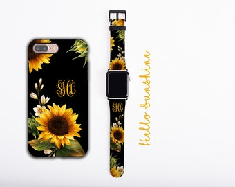 Sunflowers iPhone case & Apple Watch Band Bundle, personalized phone case and watch band set, monogram iPhone case, faux leather, 38 / 42 mm