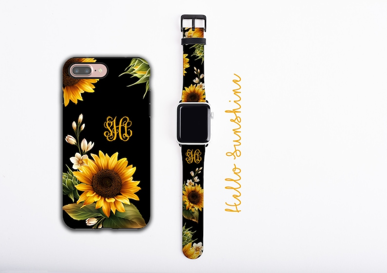 buy popular 545a7 baa09 Sunflowers iPhone case & Apple Watch Band Bundle, personalized phone case  and watch band set, monogram iPhone case, faux leather, 38 / 42 mm