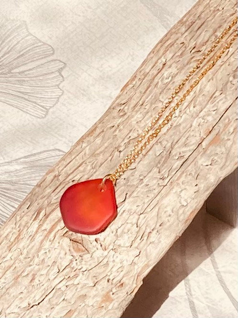 Red sea glass necklace red sea glass pendant gold chain image 0
