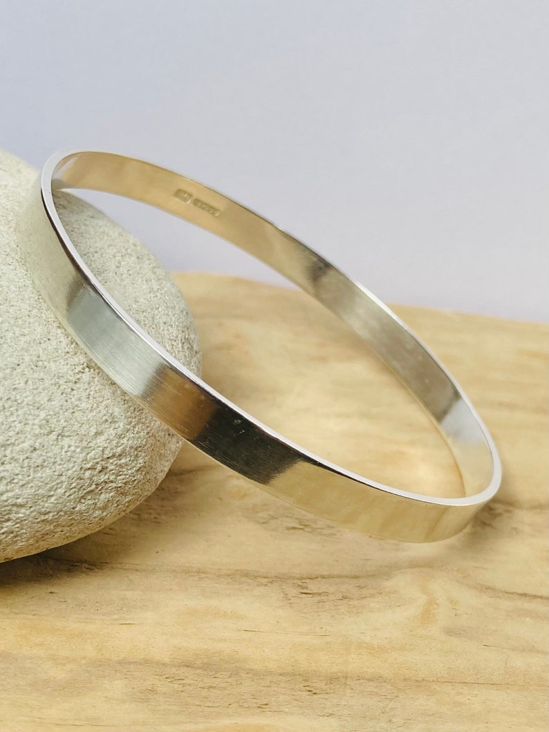 Wide Silver Bangle Solid Sterling Silver Bangle Silver image 0