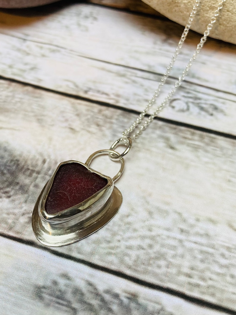 Silver and seaglass necklace  sea glass pendant  handmade image 0