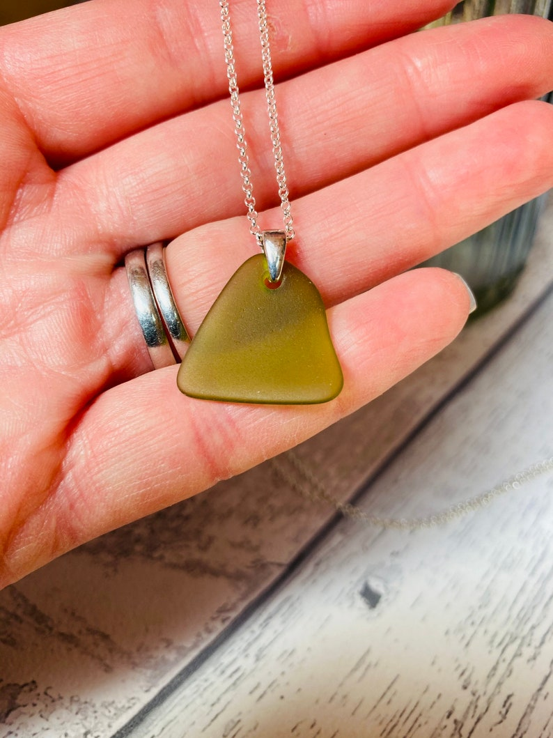 Olive green sea glass pendant necklace silver necklace image 0