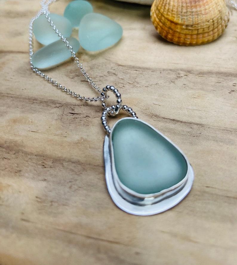 Aqua sea glass necklace silver sea glass necklace sea glass image 0