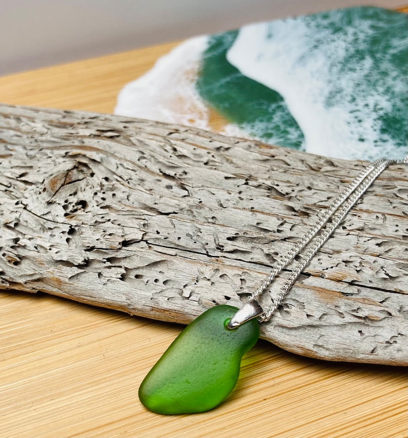 Emerald green sea glass pendant necklace silver necklace image 0