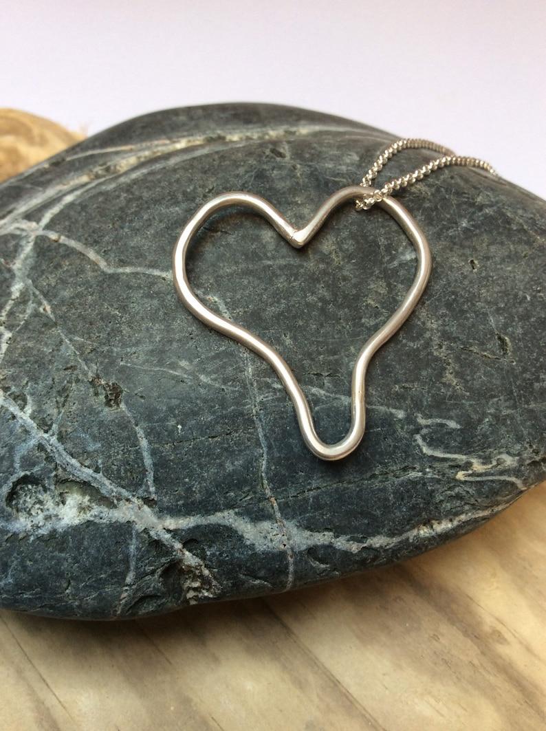 Silver heart pendant sterling silver jewellery handmade image 0