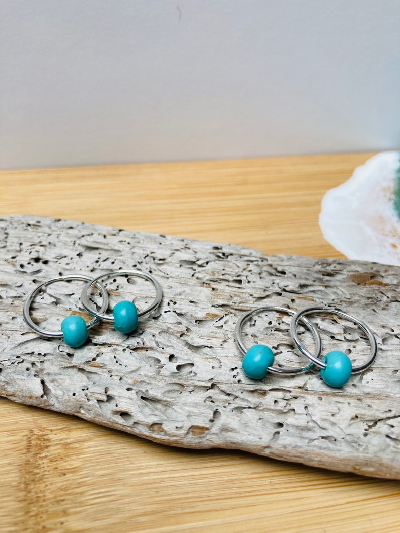 Silver Hoop Earrings Silver Jewellery Turquoise Earrings image 0