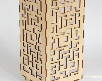 Wooden lamp / Decorative lamp / Laser cut wood lamp / Table lamp - Labyrinth