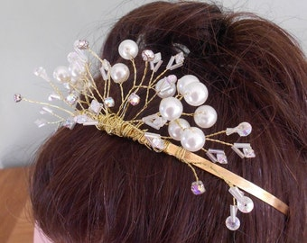 Crystal and Pearl Wedding Tiara. Handmade. Now at a greatly reduced Sale Price for a quick sale.