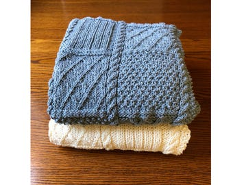 Aran Cable Cozy Wrap - Cable Knit Blanket - Hand Knit Throw