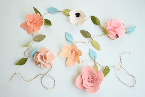 Felt flower garland nursery floral wall swag pink flower etsy image 0 mightylinksfo