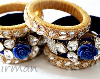 Set of 3 Medium size bangles Gold Blue Handmade wool bangle bracelets, gold embroidery wrist cuff bracelet Indian wedding decor BA00059