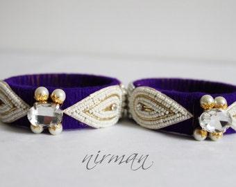 Indian wedding bangle Single Purple Hand knit bangle bracelet wool jewelry purple with pearl / beads, rhinestone wrist cuff bracelet BA00021