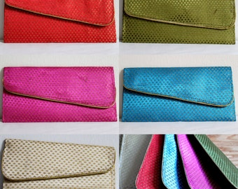 Gift Card, Money envelope, Envelope Purse, Wristlet clutch, Checkered fabric purse, Bridesmaid gift - Colors Red, Blue, Purple, Green, Gold