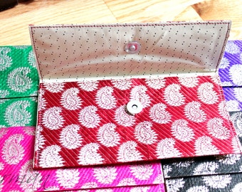 Gift Card, Money envelope, Envelope Purse, Wristlet clutch, Paisley fabric purse, Bridesmaid gift - Colors Red, Blue, Purple, Green, Gold