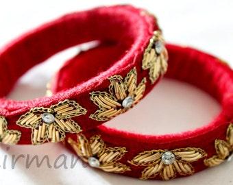 Set of 2, Small size, Pair of Red Handmade wool bangle bracelets, gold embroidery wrist cuff bracelet Indian wedding decor BA00048