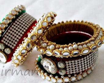 Indian Bangle Set of 3 Large size bangles Gold Red Green Handmade bangle bracelets gold embroidery wrist bracelet Indian wedding BA00058