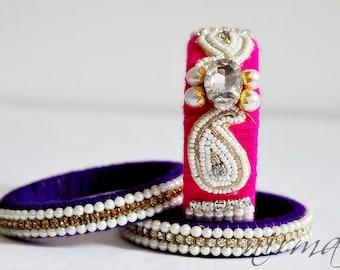 Indian wedding bangle Set of 3 Hand knit bangle bracelets, wool jewelry, with white pearl / beads, rhinestone wrist cuff bracelet BA00030