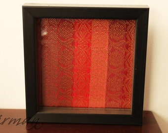 "Orange jewelry dish, trinket dish, jewellery dish, tabletop decor, red orange yellow, vanity Glass tray, frame, coaster 6"" square"