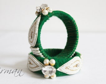Indian wedding bangle Single GREEN Hand knit bangle bracelet wool jewelry, green with pearl / beads, rhinestone wrist cuff bracelet BA00020