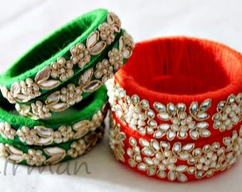 Set of 3 bangle bracelet, Embroidered jewelry, Seed bead Indian wool jewelry, white pearl / beads, rhinestone wrist cuff bracelet - BA00038