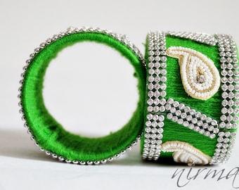 Indian bangle wedding Single GREEN Hand knit bangle bracelet, wool jewelry, with white pearl / beads, rhinestone wrist cuff bracelet BA00008