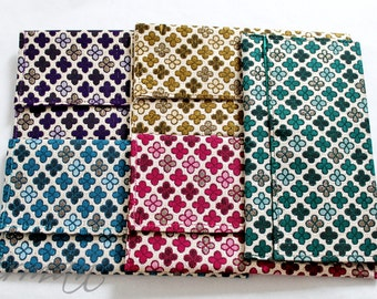 Envelope Purse, Fabric clutch, Wristlet clutch, Checkered fabric purse, Bridesmaid gift - Colors Red, Blue, Purple, Green, Gold