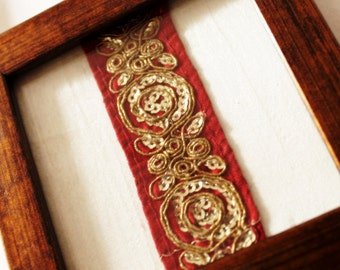 Coasters in silk fabric framed with red trim/ lace, Indian Bollywood inspired