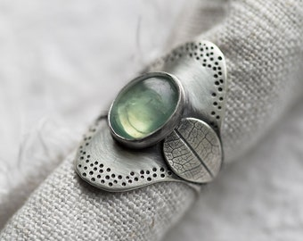 Glade Ring. size 9.75 ( green prehnite gemstone ring. antique sterling silver. wide saddle shank. tree leaf print nature jewelry )
