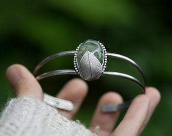 Shady Grove Bracelet ( prehnite gemstone cuff bracelet. antique sterling silver. real leaf print. oxidized polished. )