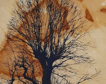 30 x 20 cm screenprinted tree on cloth rust dyed slow dyeing natural eco dye textile art fabric artwork patchwork print stitch book art gift