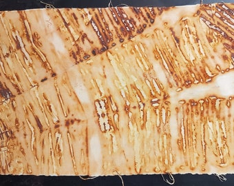 40 x 25 cm rust dyed cloth nails stripe effect stripes stripey rusty nail natural dyeing organic eco fabric dyeing remnant panel material