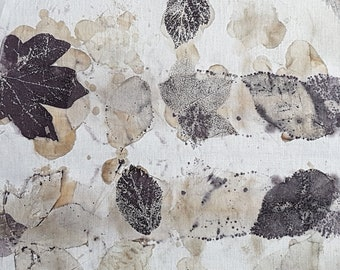 37 x 27 cm eco dyeing eco dyed print recycled textile embroidery art natural dye cloth fabric leaves leaf sew quilt patchwork stitch printed