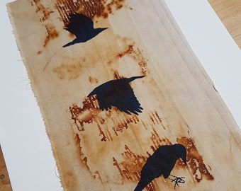 36 x 18 cm screenprinted crow on cloth rust dyed slow dyeing natural eco dye textile art fabric artwork patchwork print stitch book art gift
