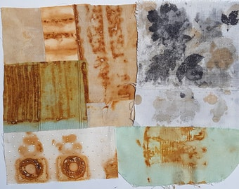 8 pieces mixed sizes rust & eco dyed cloth kit starter pack set for stitch meditation fabric collage art embroidery patchwork quilt sewing