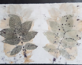 32 x 20 cm eco dyeing ecodyed print textile art natural dye cloth fabric rose leaves leaf nature sew patchwork boro stitch rust dyed printed