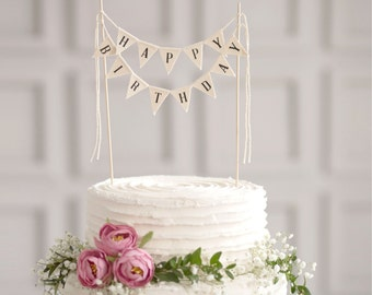 Happy Birthday Cake Banner Bunting Sign Party Topper