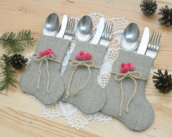 christmas silverware holderchristmas table decor burlap christmas silverware christmas decorations christmas stocking - Christmas Silverware Holders
