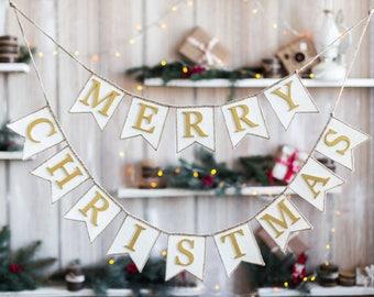 merry christmas sign, Merry Christmas Banner, Christmas Garland, Burlap Banner, Burlap Bunting, Rustic Christmas Garland, Christmas Decor