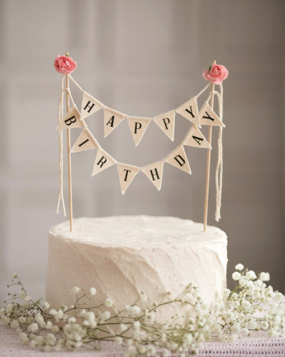 Happy Birthday Cake Topper Sign Black And