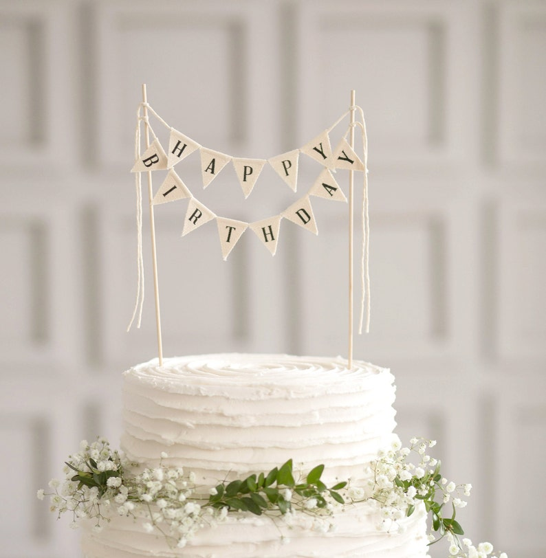 Happy Birthday Cake Topper Banner Sign Bunting Party