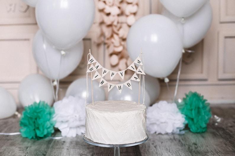 Happy Birthday Cake Topper Banner 1st