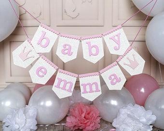 Burlap Baby Banner, Baby Girl Banner, baby shower banner, baby name banner, oh baby banner, Shower Decor, baby shower decorations