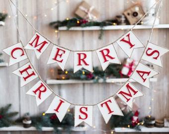 Merry Christmas Banner, Christmas Garland, Burlap Banner, Burlap Bunting, Rustic Christmas Garland, Christmas DecorMerry Christmas Bunting